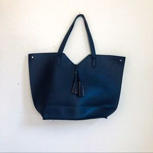 Neiman Marcus Navy Pebbled Tote